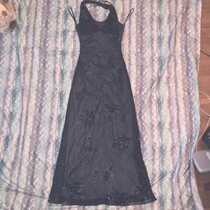 Taboo small black dress with grey slip and flowers